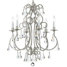 Crystorama 5016-OS-CL-MWP - Crystorama Ashton 6 Light Olde Silver Chandelier