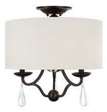 Crystorama 5973-EB_CEILING - Crystorama Manning 3 Light Bronze Leaf Ceiling Mount