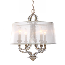 Crystorama 6764-DT - Crystorama Garland 4 Light Distressed Twilight Crystal Bead Mini Chandelier