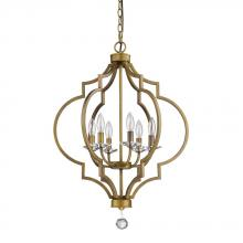 Acclaim Lighting IN11018RB - Peyton Indoor 6-Light Chandelier W/Crystal Bobeches In Raw Brass
