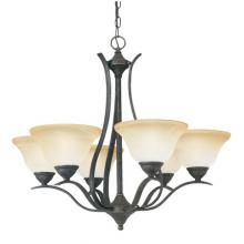 Thomas SL863622 - Six-light chandelier. Oval tubing and swirl alabaster glass produces a sweeping design with graceful
