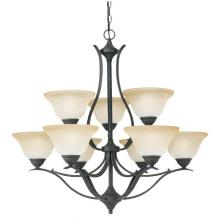 Thomas SL863922 - Nine-light chandelier. Oval tubing and swirl alabaster glass produces a sweeping design with gracefu