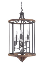 Jeremiah 40338-ESPWB - Tahoe 8 Light Foyer in Espresso/Whiskey Barrel