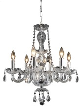 Elegant 7836D20C/RC - 7836 Princeton Collection Chandelier D:20in H:22in Lt:6 Chrome Finish (Royal Cut Crystals)