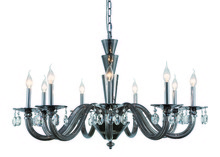Elegant 7870G39SS/RC - 7870 Augusta Collection Chandelier D:39in H:23in Lt:9 Silver Shade Finish (Royal Cut Crystals)