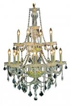 Elegant 7890D28G/RC - 7890 Giselle Collection Hanging Fixture  W28in H41in Lt:12 Gold Finish  (Royal Cut Crystals)
