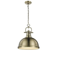 Golden 3602-L AB-AB - Duncan 1 Light Pendant with Chain in Aged Brass with a Aged Brass Shade