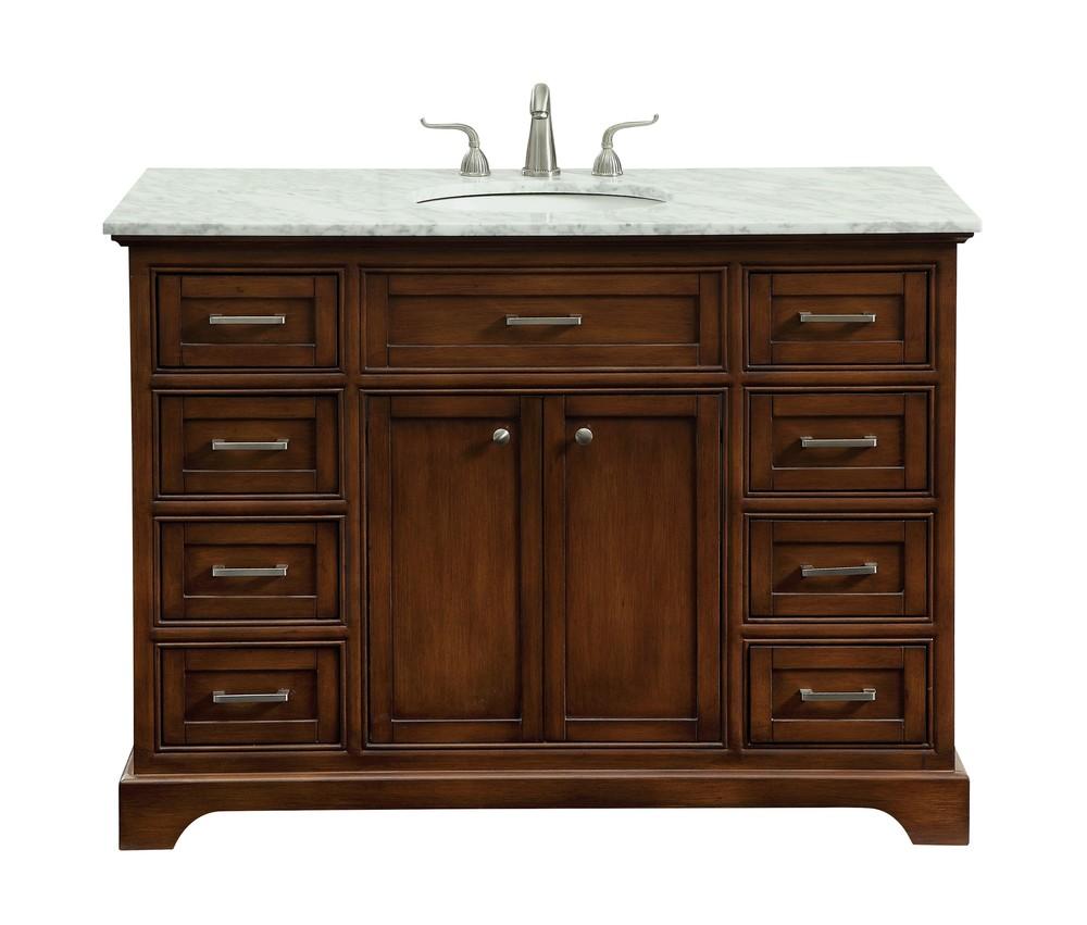 48 In. Single Bathroom Vanity Set In Teak
